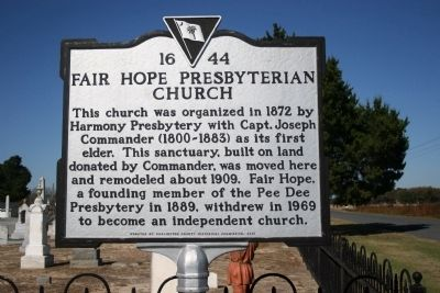 Fair Hope Presbyterian Church Marker image. Click for full size.