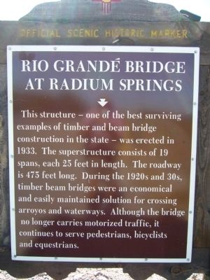 Rio Grandé Bridge at Radium Springs Marker image. Click for full size.