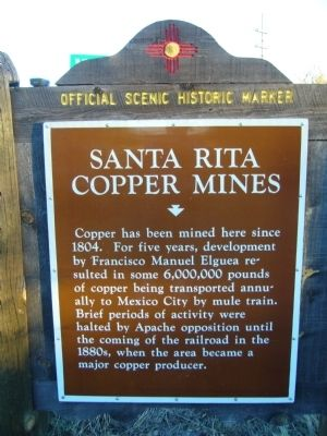 Santa Rita Copper Mines Marker image. Click for full size.
