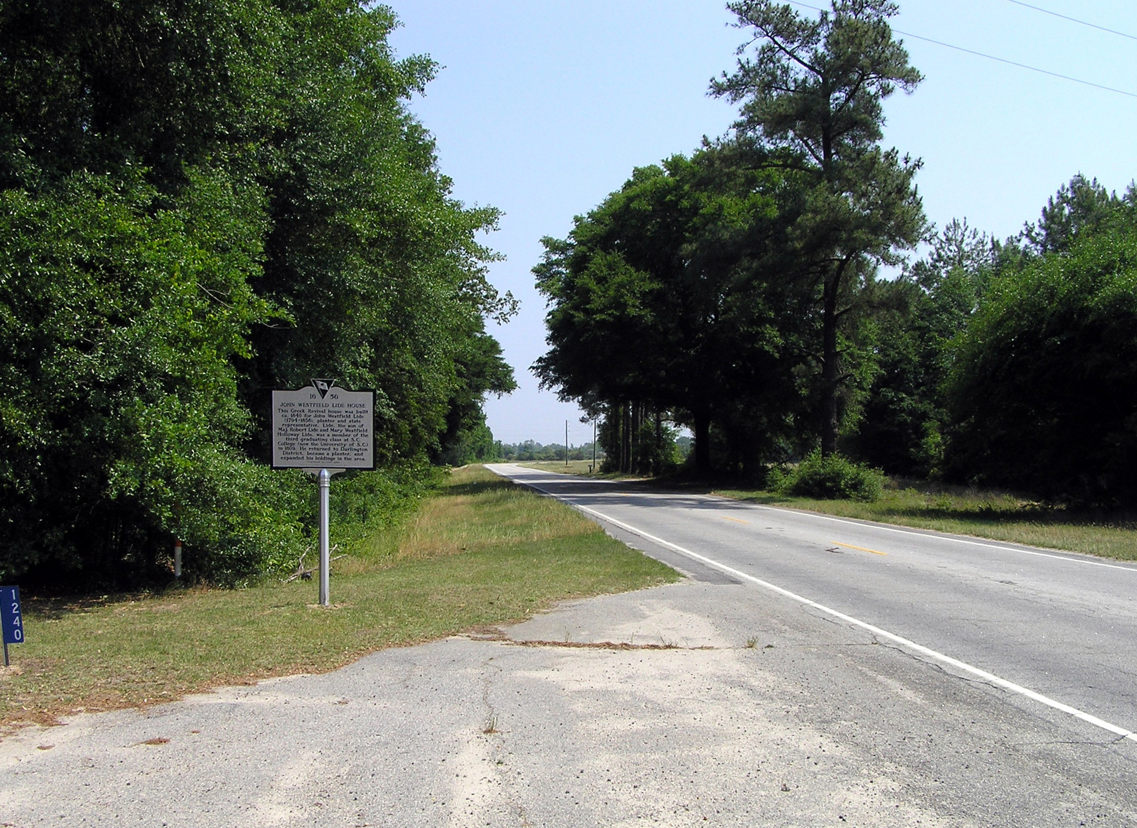 Wide view of the John Westfield Lide House Marker