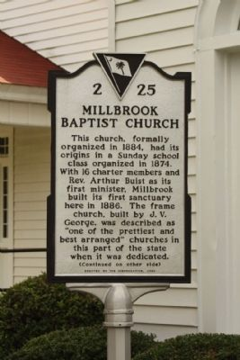 Millbrook Baptist Church Marker image. Click for full size.