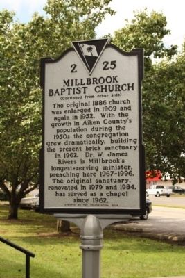 Millbrook Baptist Church Marker, reverse side image. Click for full size.