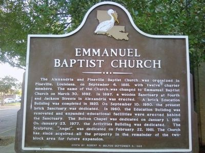 Emmanuel Baptist Church Marker image. Click for full size.