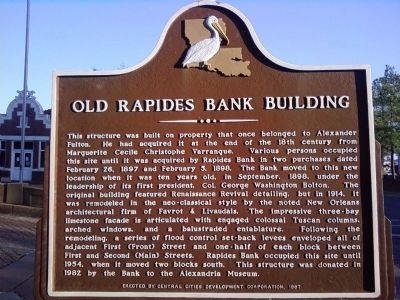 Old Rapides Bank Building Marker image. Click for full size.