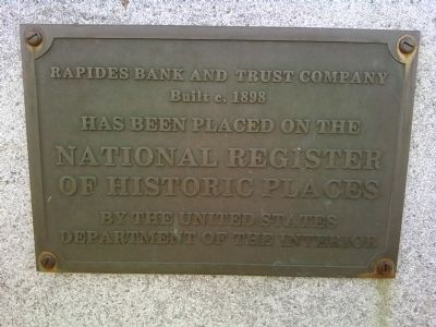 Old Rapides Bank Building NRHP plaque image. Click for full size.