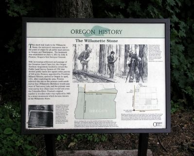 The Willamette Stone Marker image. Click for full size.