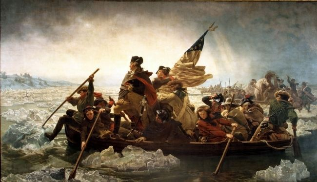 """Washington Crossing the Delaware"" – Oil painting by Emanuel Leutze image. Click for full size."