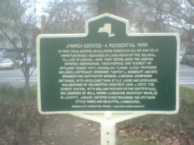Jamaica Estates - A Residential Park Marker image. Click for full size.