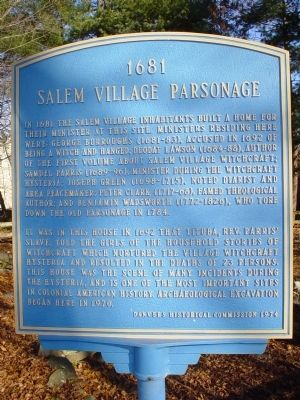 Salem Village Parsonage Marker image. Click for full size.