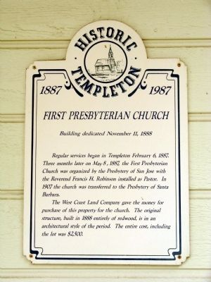 First Presbyterian Church Marker image. Click for full size.