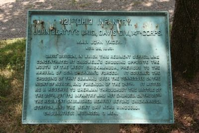121st Ohio Infantry. Marker image. Click for full size.