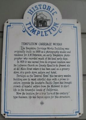 Templeton Carriage Works Marker image. Click for full size.