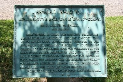 98th Ohio Infantry. Marker image. Click for full size.