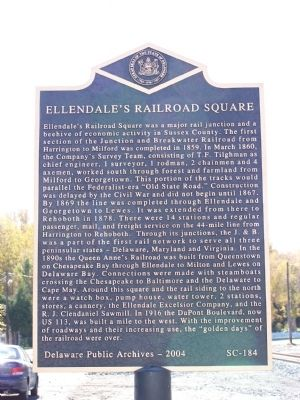 Ellendale's Railroad Square Marker image. Click for full size.