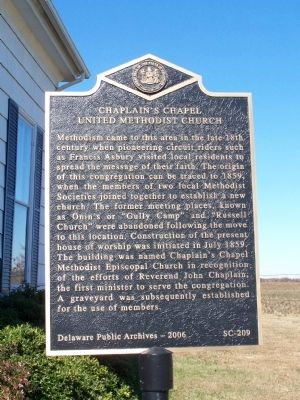 Chaplain's Chapel United Methodist Church Marker image. Click for full size.