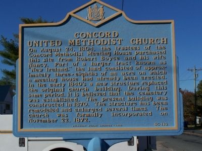 Concord United Methodist Church Marker image. Click for full size.