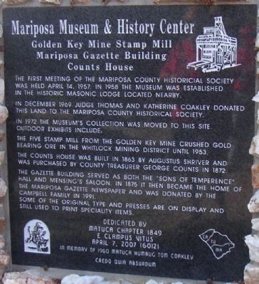 Mariposa Museum and History Center Marker image. Click for full size.