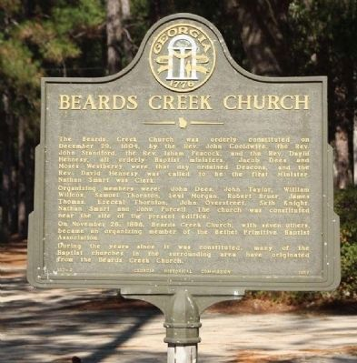Beards Creek Church Marker image. Click for full size.