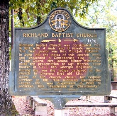 Richland Baptist Church Marker image. Click for full size.