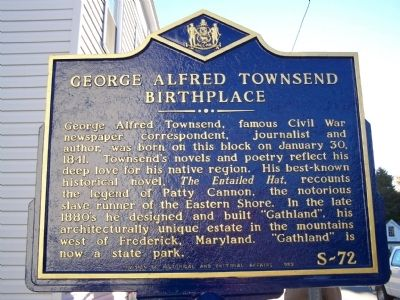 George Alfred Townsend Birthplace Marker image. Click for full size.