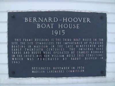Bernard - Hoover Boat House Marker image. Click for full size.
