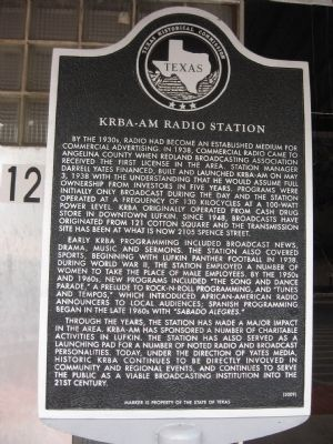 KRBA-AM Radio Station Marker image. Click for full size.