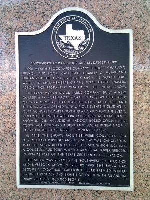 Southwestern Exposition and Livestock Show Marker image. Click for full size.
