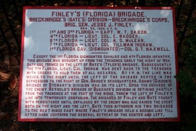 Finley's (Florida) Brigade Marker image. Click for full size.