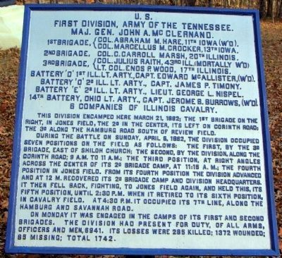 First Division, Army of the Tennessee Marker image. Click for full size.