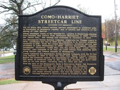 Como–Harriet Streetcar Line Marker image. Click for full size.