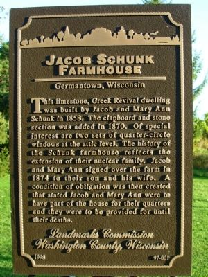 Jacob Schunk Farmhouse Marker image. Click for full size.