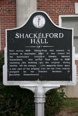 Shackelford Hall Marker image. Click for full size.