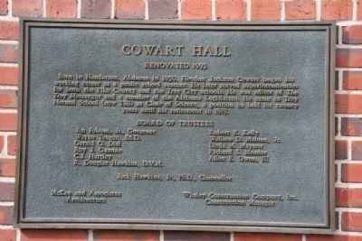 Cowart Hall Marker image. Click for full size.
