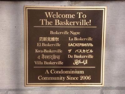 Baskerville Apartments Sign image. Click for full size.