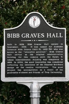 Bibb Graves Hall Marker image. Click for full size.