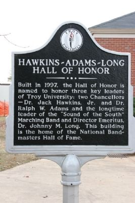 Hawkins-Adams-Long Hall Of Honor Marker image. Click for full size.