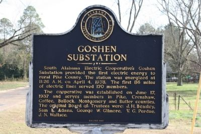 Goshen Substation Marker image. Click for full size.