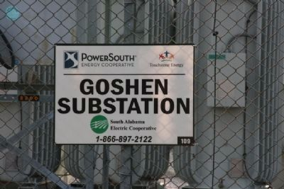 Goshen Substation Sign image. Click for full size.