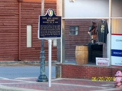 Hank and Audrey Williams Marker (Side B) From Across Three Notch Street image. Click for full size.