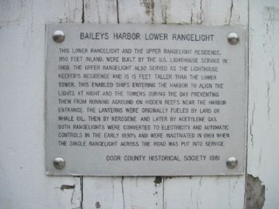 Baileys Harbor Lower Range Light Marker image. Click for full size.
