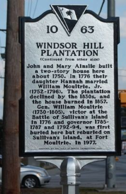 Windsor Hill Plantation Marker, reverse side image. Click for full size.