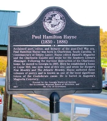 Paul Hamilton Hayne Marker image. Click for full size.