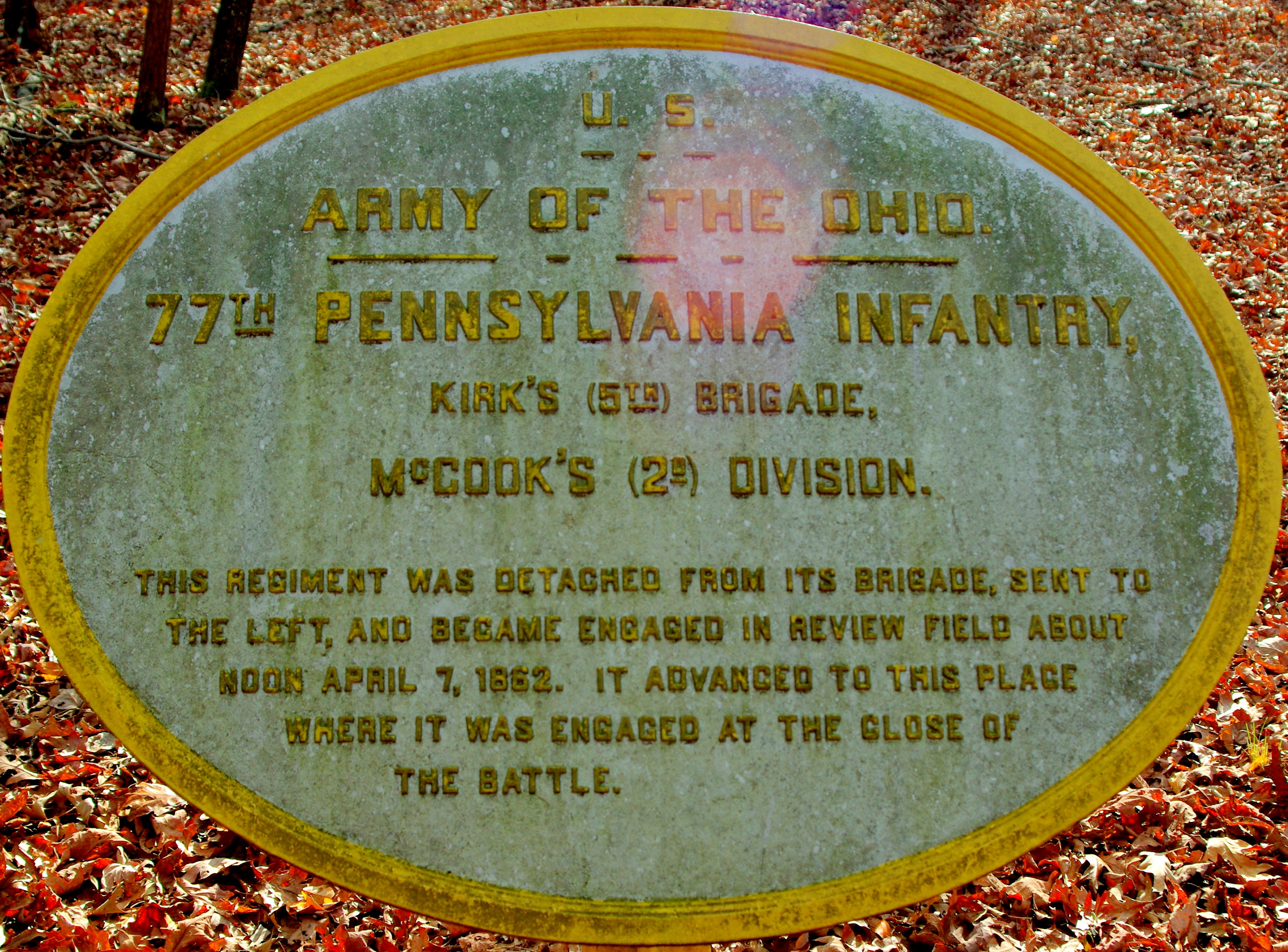 77th Pennsylvania Infantry Marker