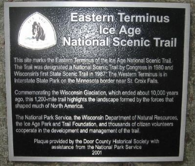 Eastern Terminus Ice Age National Scenic Trail Marker image. Click for full size.