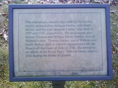 Fairfax Monument Marker image. Click for full size.