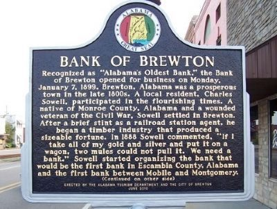Bank of Brewton Marker - Side A image. Click for full size.