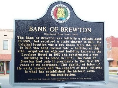 Bank of Brewton Marker - Side B image. Click for full size.