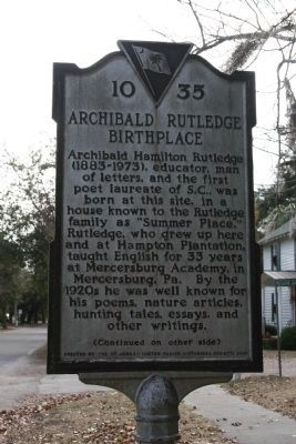 Archibald Rutledge Birthplace Marker - Side A image. Click for full size.