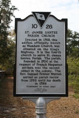 St. James Santee Parish Church Marker (Front) image. Click for full size.