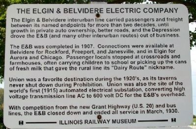 The Elgin & Belvidere Electric Company Marker - Upper image. Click for full size.